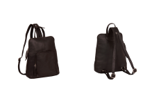 Womens City Leather Backpack Handbag Brown 'Ivy' - Front & Back